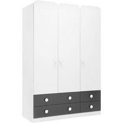 Kleiderschrank Grau/Weiß - KONVENTIONELL, Holzwerkstoff (136/202/54cm) - MODERN LIVING