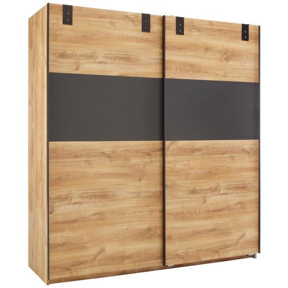 Schwebetürenschrank in Eichefarben - Eichefarben/Graphitfarben, KONVENTIONELL, Holzwerkstoff/Metall (180/198/64cm) - Modern Living