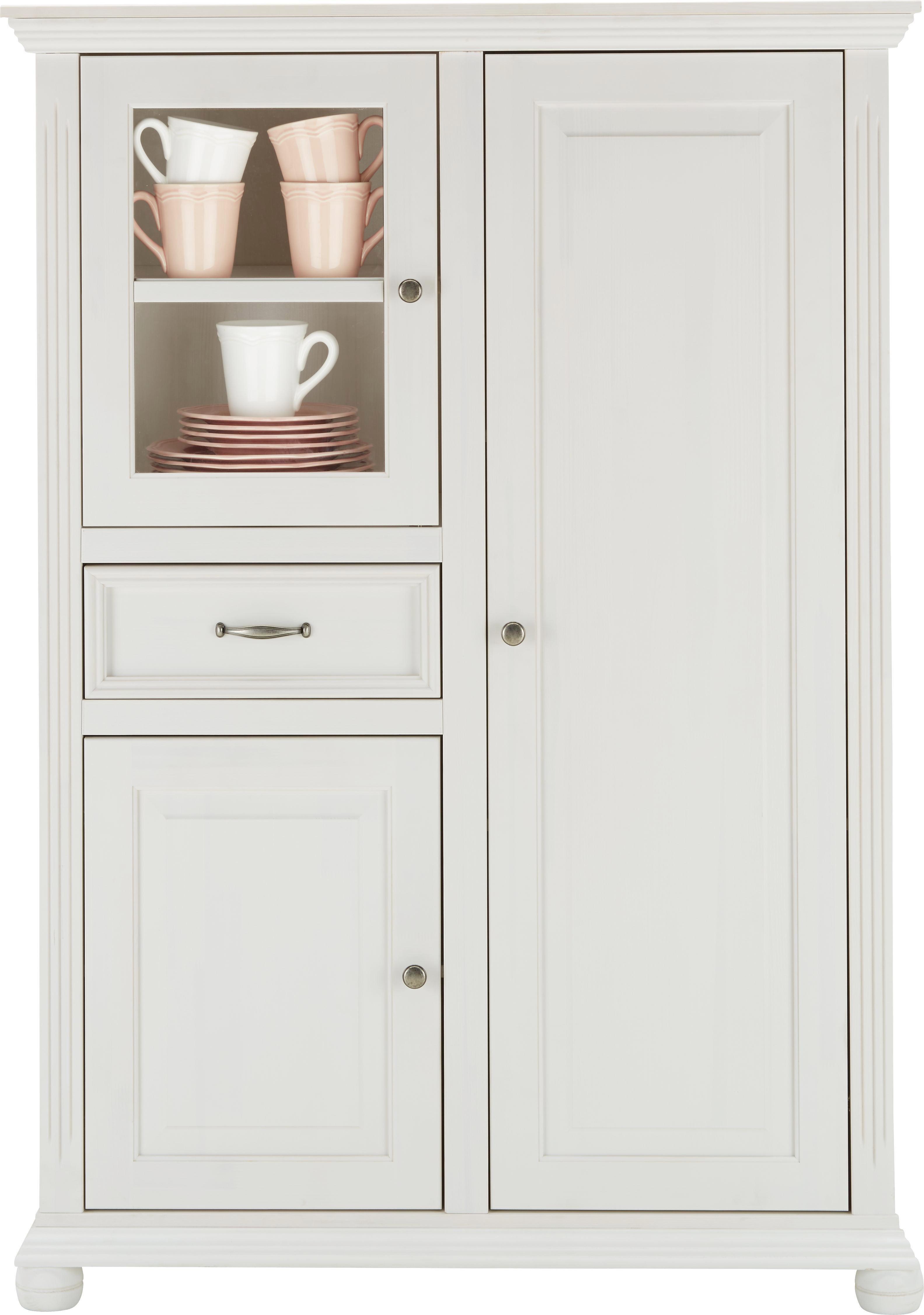 Highboard aus Echtholz in Weiß - Weiß, ROMANTIK / LANDHAUS, Glas/Holz (105/150/45cm) - ZANDIARA