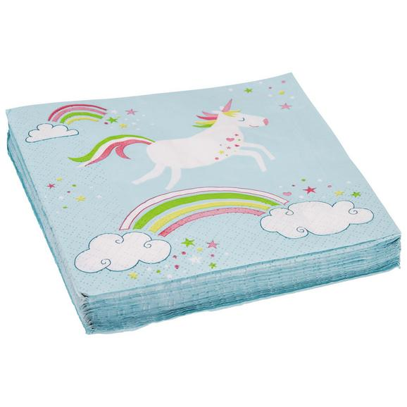 Serviete Unicorn - roza/turkizna, papir (33/33cm)