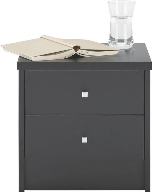 Nachtkästchen Schwarz - Alufarben/Schwarz, Holz/Kunststoff (37,4/37/33,5cm) - Modern Living