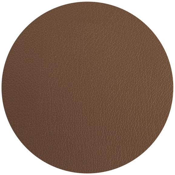 Tischset Jette aus Leder Ø ca. 40cm - Braun, Leder (40cm) - Premium Living