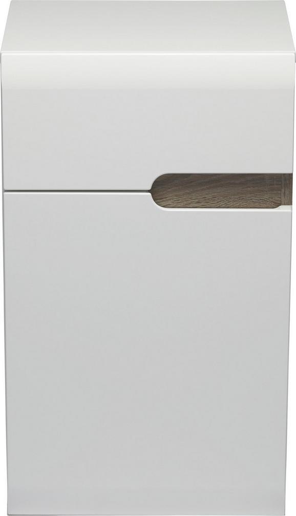 Unterschrank Weiß Hochglanz/Eiche - MODERN (40/69/31cm) - MÖMAX modern living