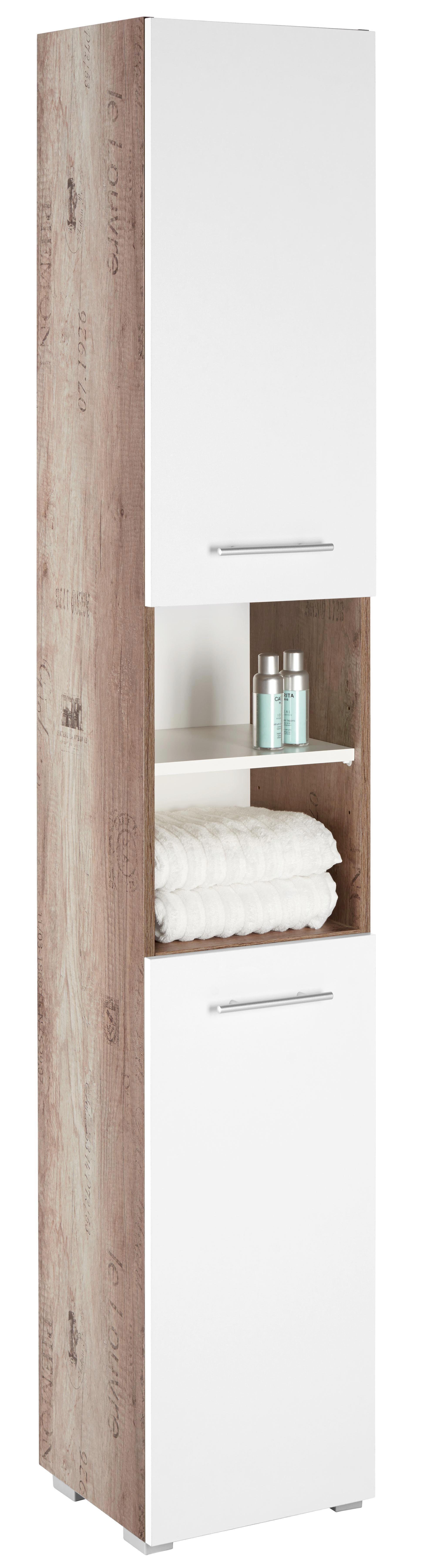 Hochschrank in Weiß/Eiche - Eichefarben/Alufarben, MODERN, Holzwerkstoff/Kunststoff (32,5/186,5/30,5cm) - MÖMAX modern living