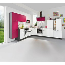 Kotna Kuhinja Win - roza/barve hrasta, leseni material (285/325cm)