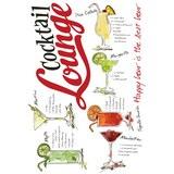 Dekosticker Cocktail Lounge Bunt - Rot/Schwarz, Kunststoff (50/70/0,35cm)