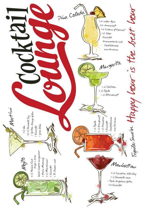 Stenska Nalepka Cocktail Lounge - rdeča/črna, umetna masa (50/70/0,35cm)