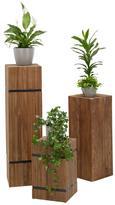 Blumensäule Rustic Teakfarben - Teakfarben, LIFESTYLE, Holz (30/105/30cm) - Premium Living