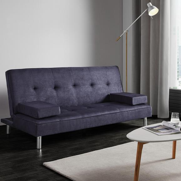 Schlafsofa Esther inkl. Kissen - Blau/Chromfarben, MODERN, Holz/Textil (181/82/89cm) - Bessagi Home