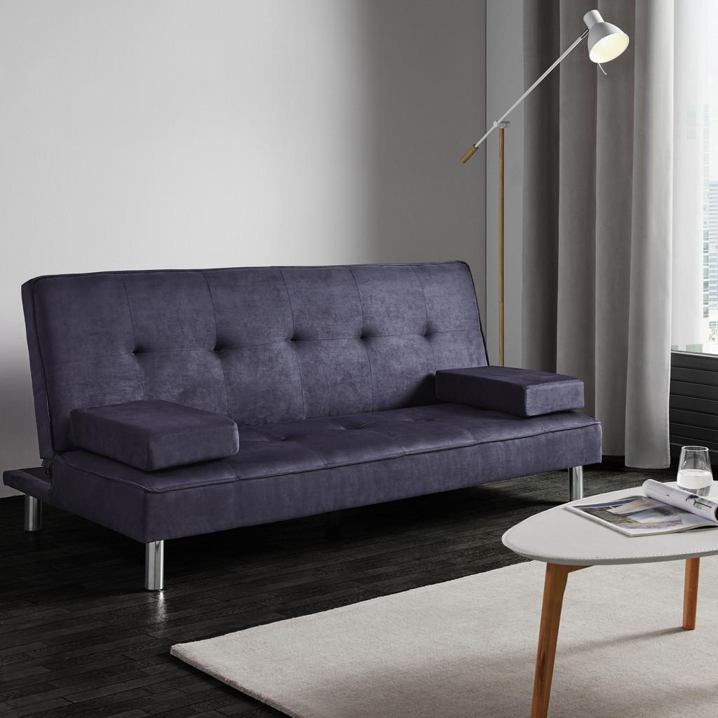 Sofa mit Schlaffunktion in Grau/Blau 'Esther'