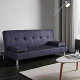 Sofa mit Schlaffunktion in Grau/Blau 'Esther' - Blau/Chromfarben, MODERN, Holz/Textil (181/82/89cm) - Bessagi Home