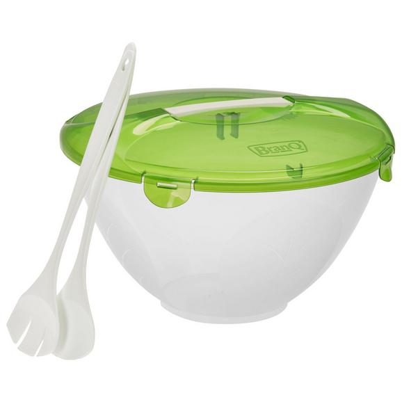 Salatschüssel Cykoria in Weiß, 3-teilig - Weiß/Grün, Kunststoff (5l) - Mömax modern living
