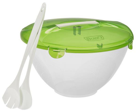 Salatschüssel Cykoria Weiß/grün, 3-teilig - Weiß/Grün, Kunststoff (5l) - Mömax modern living