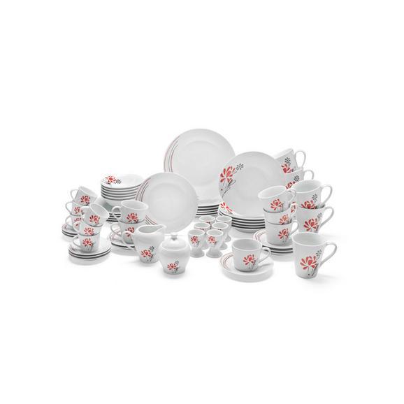 Kombiservice Flora aus Porzellan, 62-teilig - Rot/Weiß, Keramik - Mömax modern living