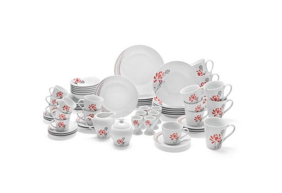 Kombiservice Flora in Weiß, 62-teilig - Rot/Weiß, Keramik - Mömax modern living