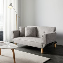 Schlafsofa Miriam inkl. Kissen - Hellgrau, MODERN, Holz/Textil (160/65/85cm) - Mömax modern living