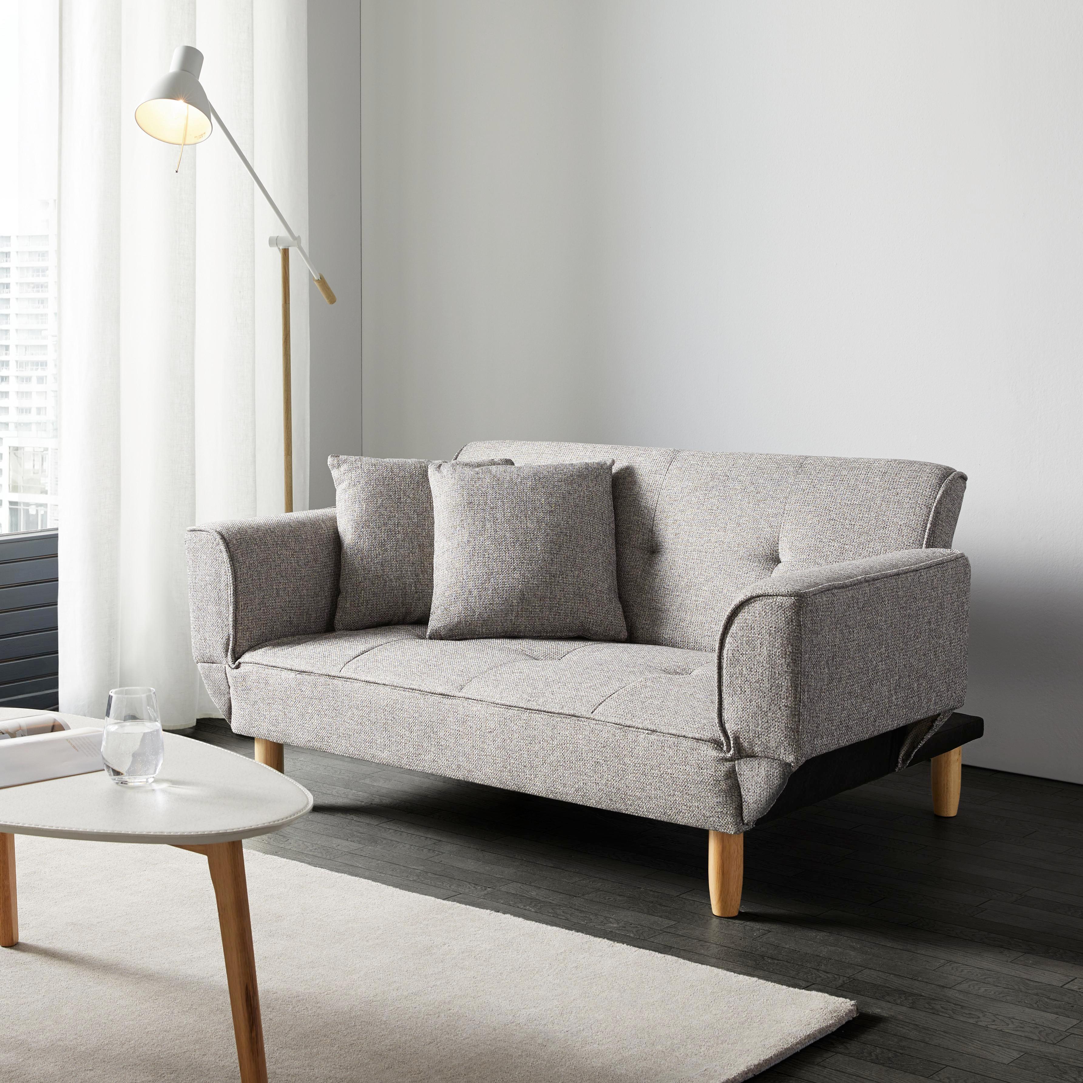 Sofa Miriam Mit Schlaffunktion Inkl. Kissen   Hellgrau, MODERN, Holz/Textil  (