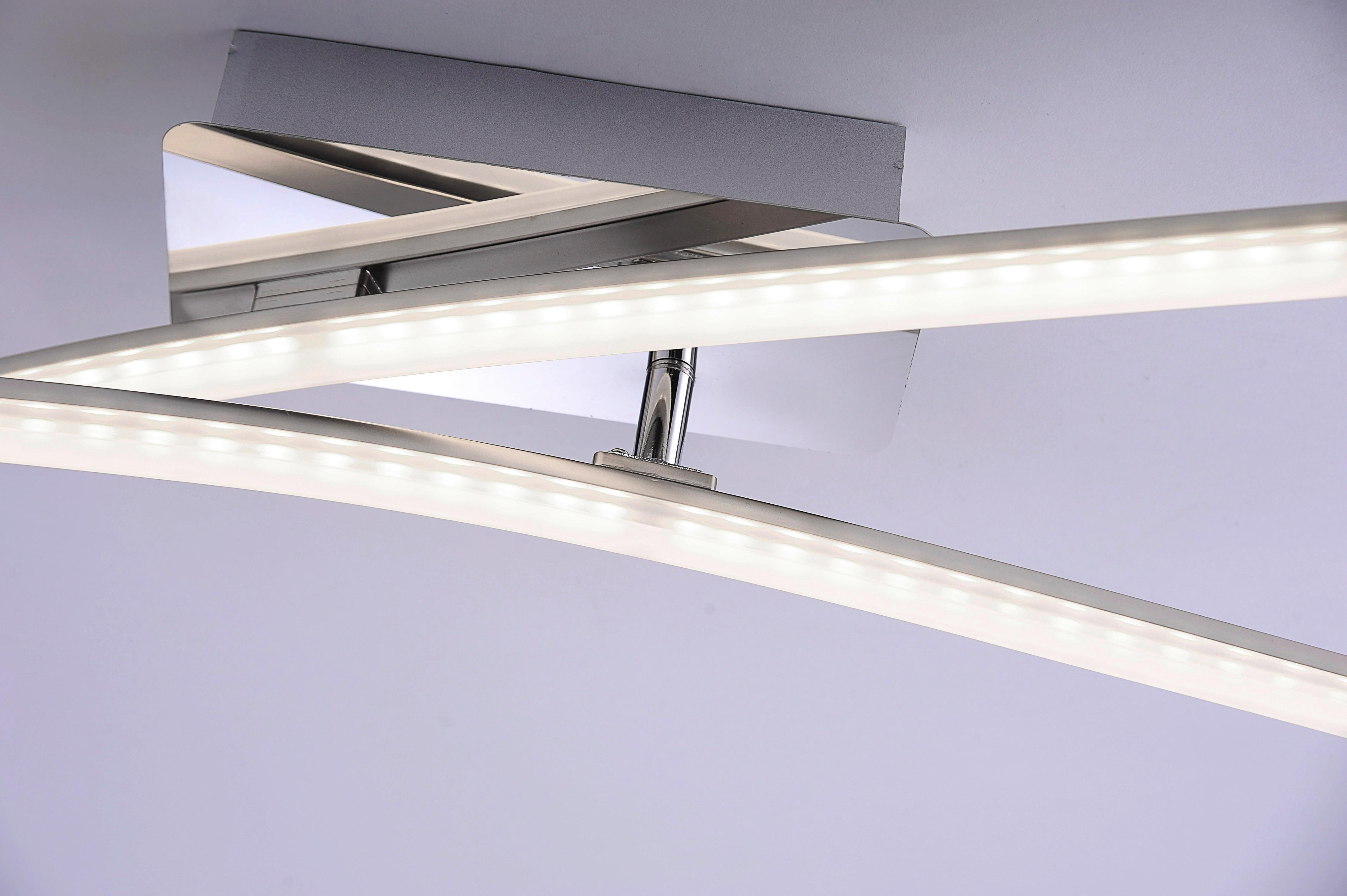LED-Deckenleuchte Simon, max. 2x5 Watt - Nickelfarben, KONVENTIONELL, Metall (58/51/10cm)
