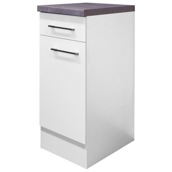 Küchenunterschrank Weiß - Edelstahlfarben/Weiß, MODERN, Holzwerkstoff/Metall (30/86/60cm) - FlexWell.ai