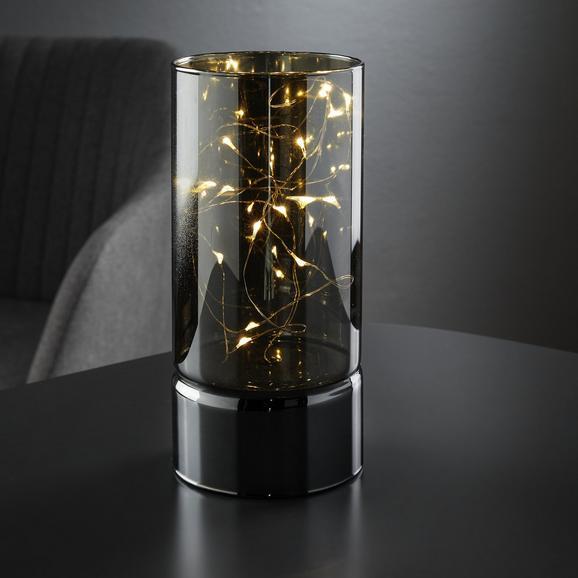 Windlicht Niclas inkl. Led Ø/h ca. 9/20 cm - Silberfarben, MODERN, Glas (9/20cm) - Mömax modern living