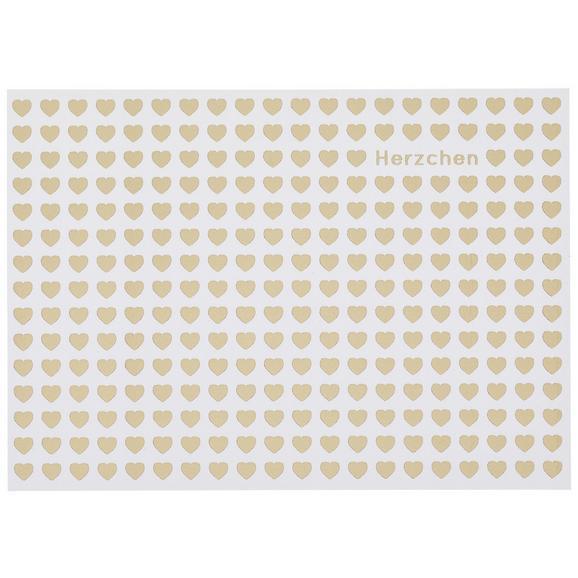 Postkarte Herzchen - Goldfarben/Weiß, MODERN, Papier (14,8/10,5cm)