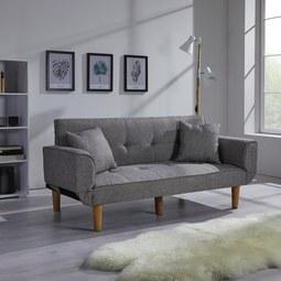 Sofa mit Schlaffunktion in Hellgrau 'Miriam' - Hellgrau, MODERN, Holz/Textil (176/71/85cm) - Bessagi Home