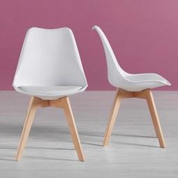 Stuhl Rocky - Buchefarben/Weiß, MODERN, Holz/Kunststoff (48/80/43,5cm) - Modern Living