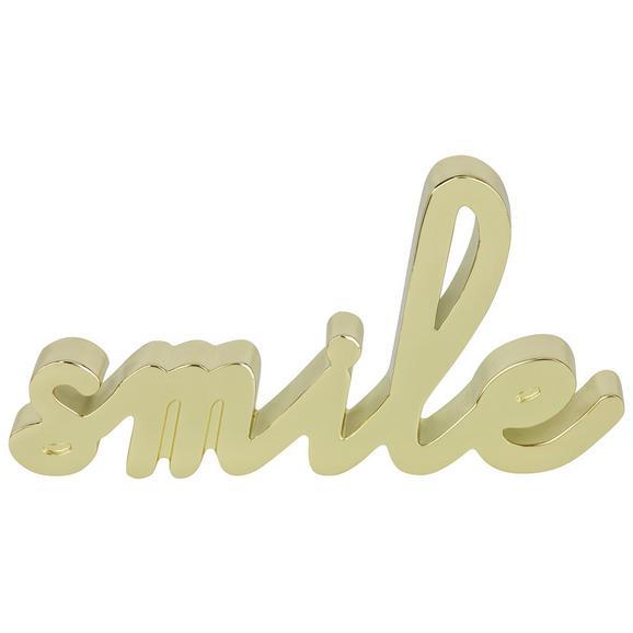 Dekor Felirat Smile - Arany, Lifestyle, Fém (12,7/6,35/1,42cm)