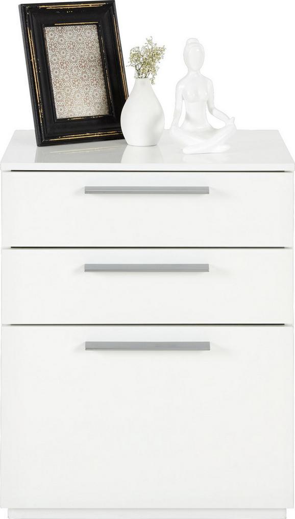 Nachtkästchen in Weiß - Alufarben/Weiß, MODERN, Holzwerkstoff/Metall (50/60/41cm) - Modern Living