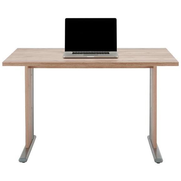 Schreibtisch in Eichefarben - Edelstahlfarben/Eichefarben, MODERN, Glas/Holzwerkstoff (120/73/80cm)