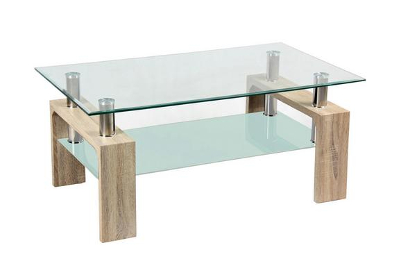 Klubska Miza Silvia - hrast/prozorna, Moderno, steklo/leseni material (100/45/60cm) - Mömax modern living