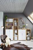 Regal in Weiß/Eichefarben - Eichefarben/Erlefarben, MODERN, Holzwerkstoff (44/218/36cm) - Mömax modern living