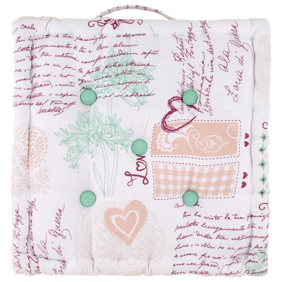 Boxkissen Romance in Weiß ca. 40x40cm - Bordeaux/Weiß, ROMANTIK / LANDHAUS, Textil (40/40/8cm) - Modern Living
