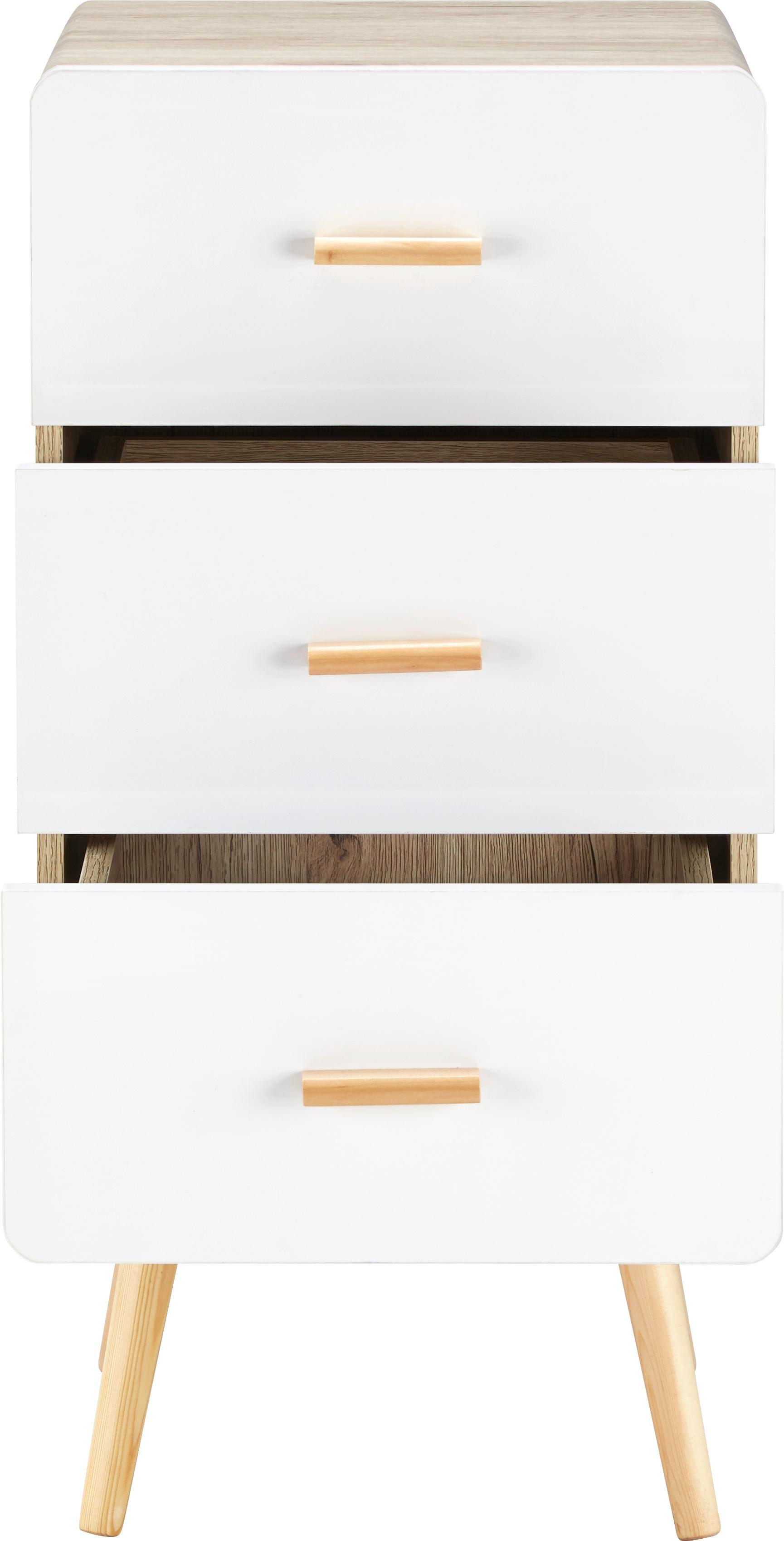 Kommode Claire - Naturfarben/Weiß, MODERN, Holz (39,5/84,4/39cm) - MÖMAX modern living