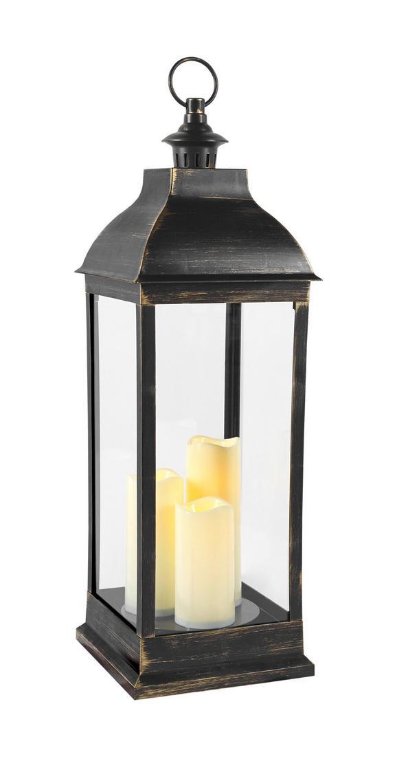 Laterna Manuela - S 3 Led-svečami - črna, Konvencionalno, umetna masa (24/71/24cm) - Mömax modern living
