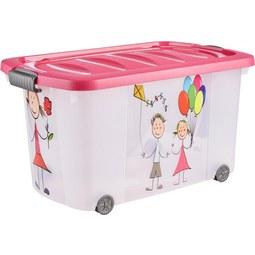 Aufbewahrungsbox Kiddys in Pink ca. 45l - Pink/Transparent, Kunststoff (60/38/32cm)