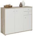Sideboard Weiß/Sandfarben - Sandfarben/Alufarben, MODERN, Holzwerkstoff/Kunststoff (106/86/34cm)