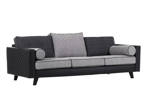 Velika Zofa Showtime - siva/črna, Trendi, tekstil (240/69/45/100cm) - Premium Living
