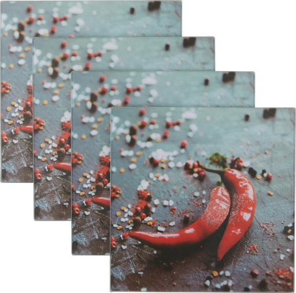 Schneidebrett Lenny in Schwarz/Rot - Glas (22/22/0,4cm) - MÖMAX modern living