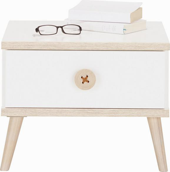 Nočnam Omarica Billund - hrast/bela, Moderno, leseni material/les (52/40/38cm) - Modern Living