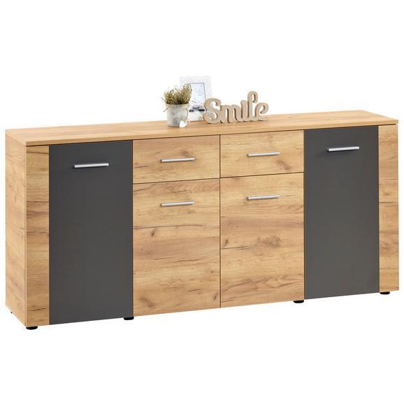 Comodă Uno - culoare lemn stejar/gri, Modern (177/80/40cm)