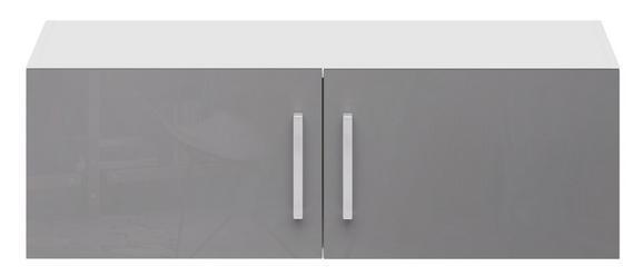 Aufsatzschrank Grau Hochglanz/Weiß - Edelstahlfarben/Weiß, MODERN, Holzwerkstoff/Metall (100/32/57cm) - Modern Living