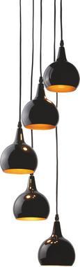 Hängeleuchte Sophie 5-flammig - Goldfarben/Schwarz, MODERN, Metall (25/20cm) - Premium Living