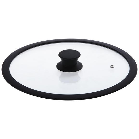 Deckel Flat in Schwarz Ø ca. 28cm - Schwarz, MODERN, Glas/Kunststoff (28cm) - Premium Living