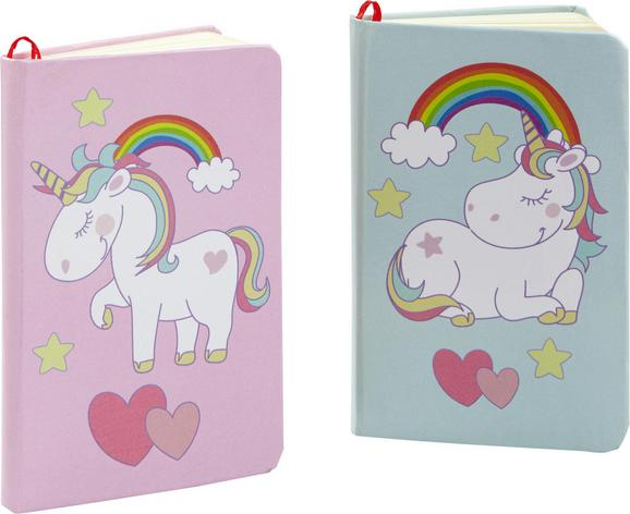 Blok Peggy - roza/svetlo modra, papir/karton (9/14,5cm)