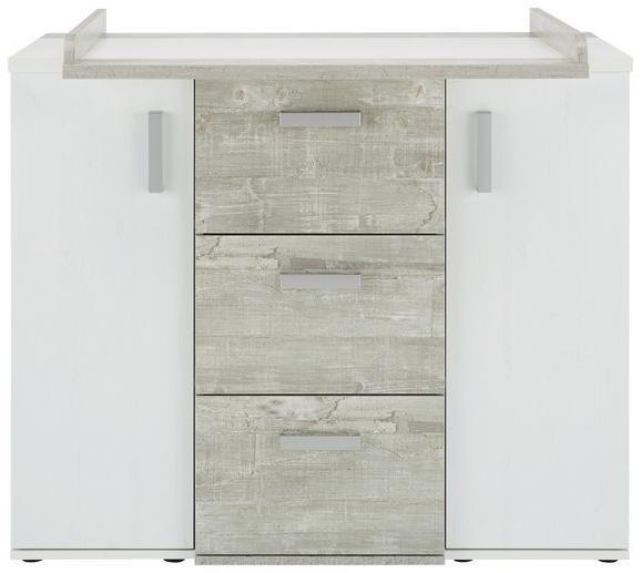 Wickelkommode Weiß/Grau - Silberfarben, KONVENTIONELL, Holzwerkstoff/Kunststoff (112/92/97/45/71cm) - Premium Living