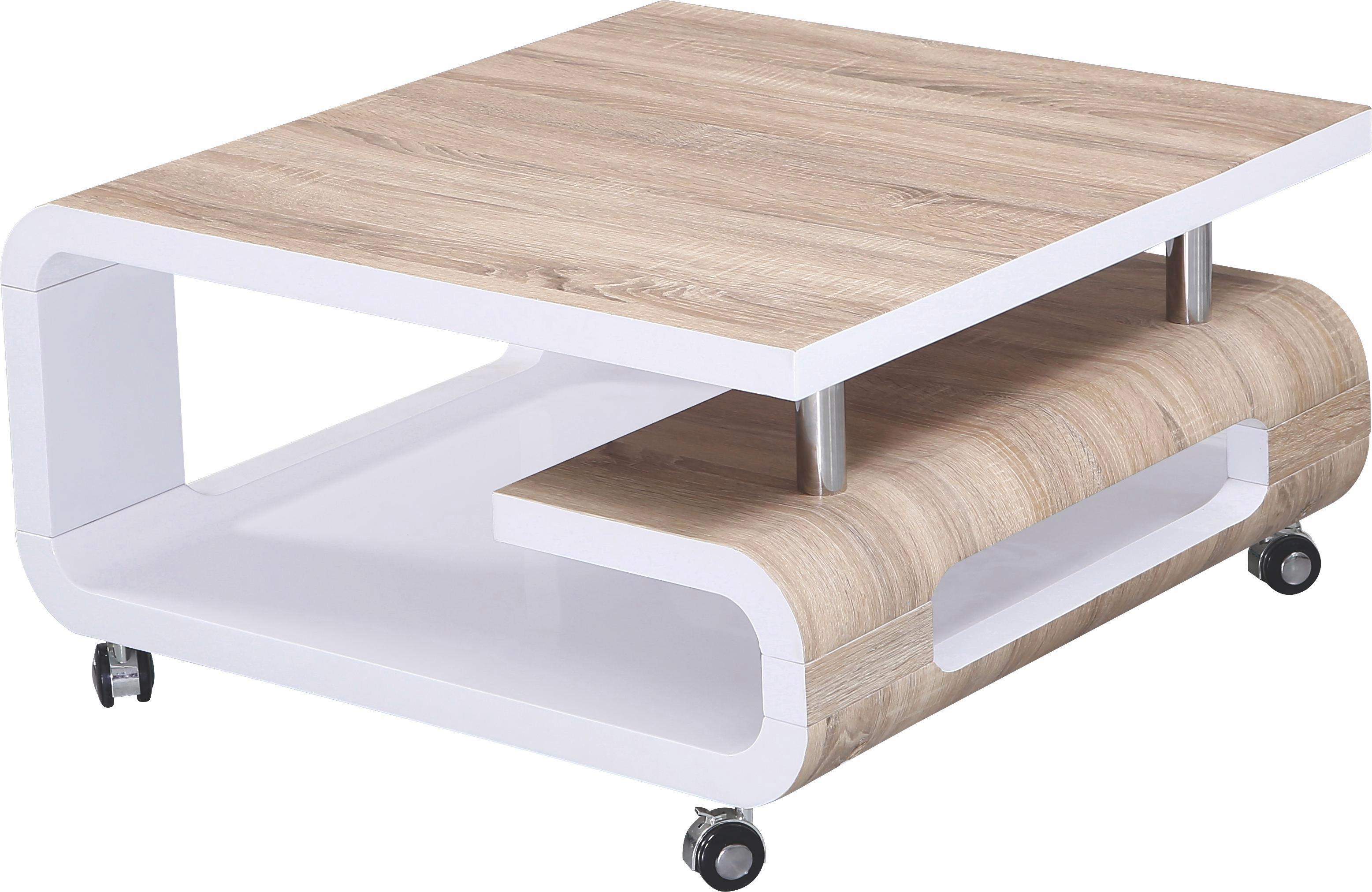 Couchtisch Weiß Hochglanz/eichefarben - Eichefarben/Weiß, MODERN, Holzwerkstoff (80/42/80cm) - MÖMAX modern living