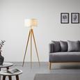 Stehleuchte Elaine - Weiß/Kieferfarben, MODERN, Textil/Metall (40/155cm) - Bessagi Home