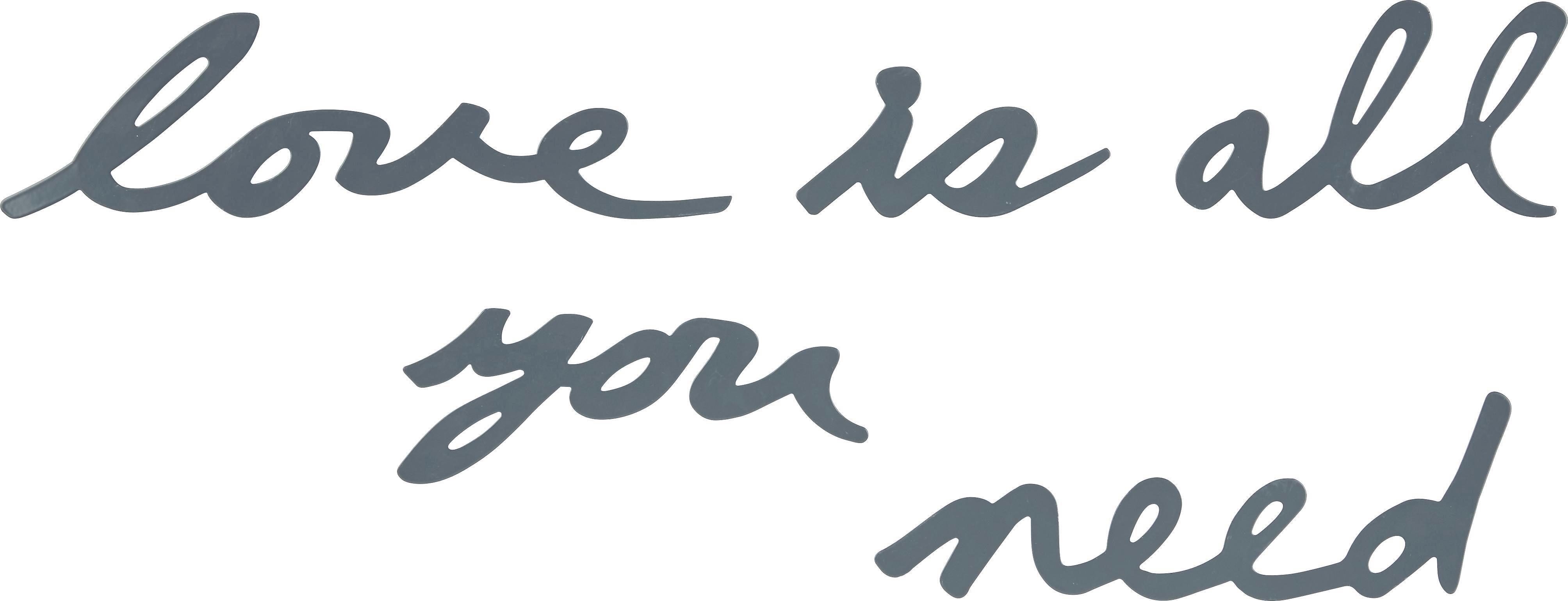 Dekobuchstaben Love Is All in Grau - Grau, MODERN, Metall - MÖMAX modern living