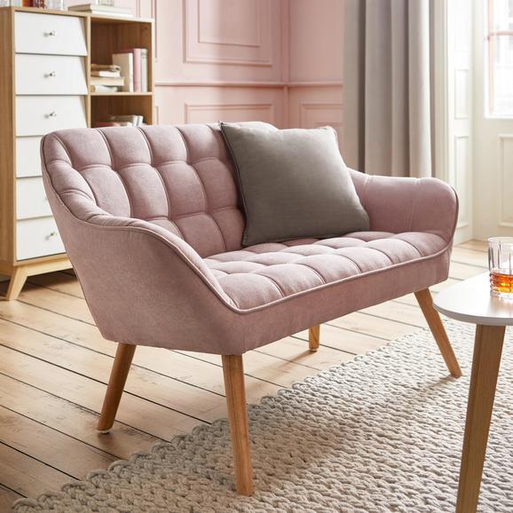 Sofa Monique Zweisitzer - Rosa, MODERN, Holz/Textil (127/76/74,5cm) - Bessagi Home